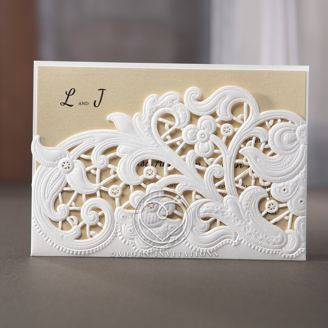 Floral Wedding Invitation, Laser Cut and Embossed Pocket