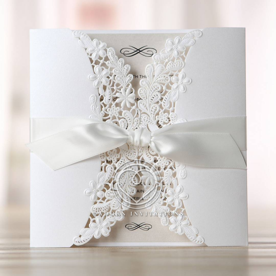 Enchanting Ivory Laser Cut Fl Wrap Wedding Invitation