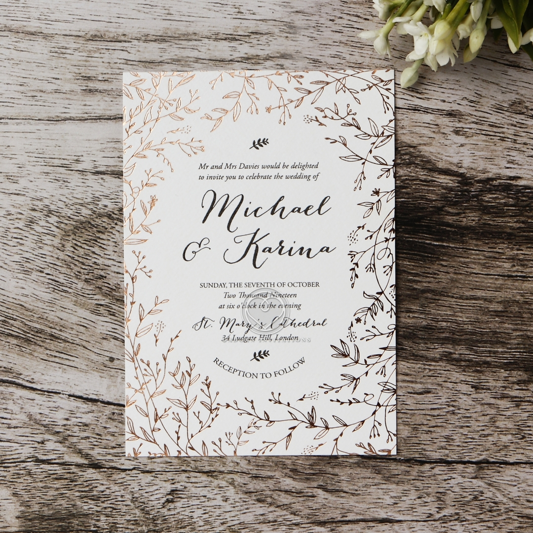 Floral Pattern in Hot Stamped Foil, Premium Paper Raised Ink
