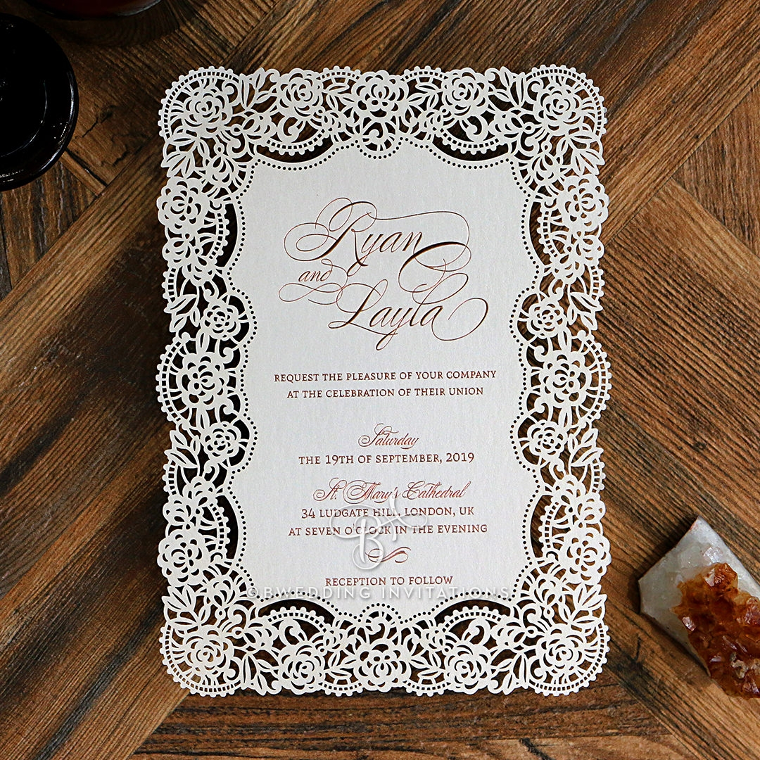 White Florals And Lace Invite Rose Gold Foil Stamped De