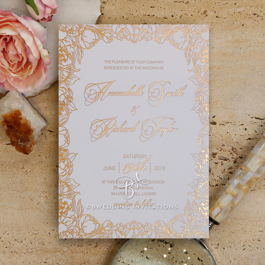 Foiled Wedding Invitation - Flourishing Garden Frame / IWF16089 ...