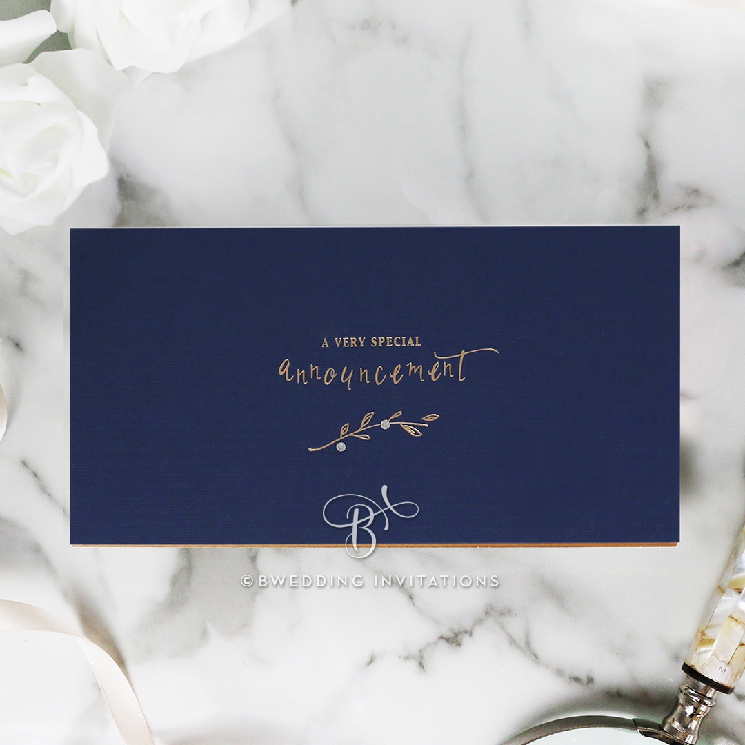 modern and versatile studded navy blue booklet invite