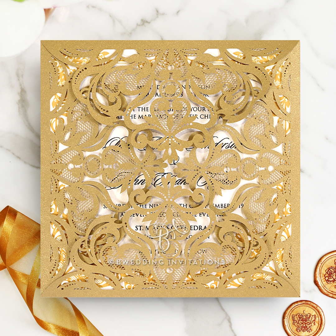 Grandiose gold and ivory wrap luxe and lavish invitations golden divine damask wedding invitation design stopboris Gallery