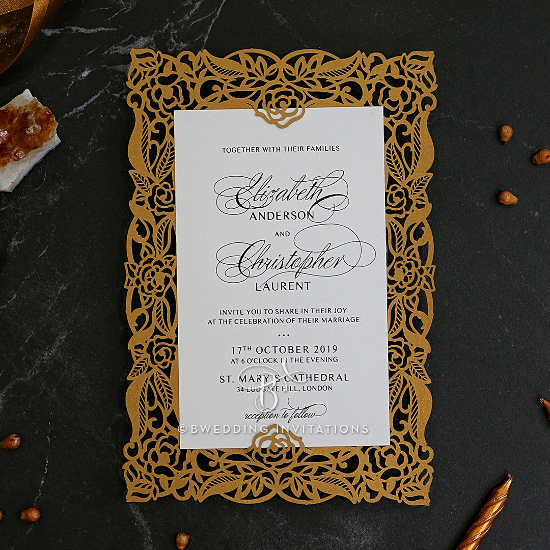 Magnificent golden wedding invitation card design ornament gallery of golden wedding invitation card design laser cut wedding invitation floral pocket swirls in gold stopboris Image collections
