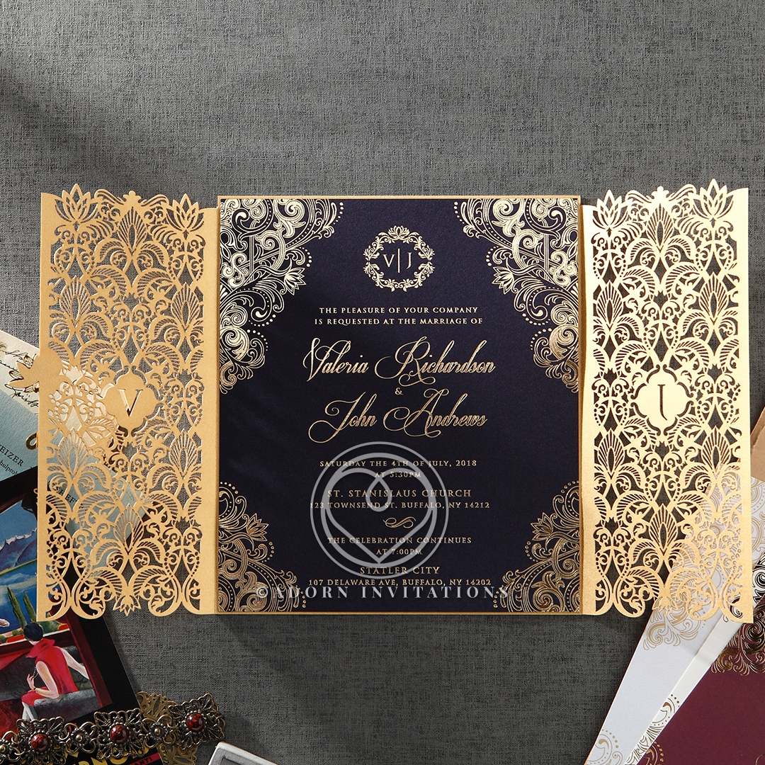 gold foil w navy elegant glamorous wedding invitation