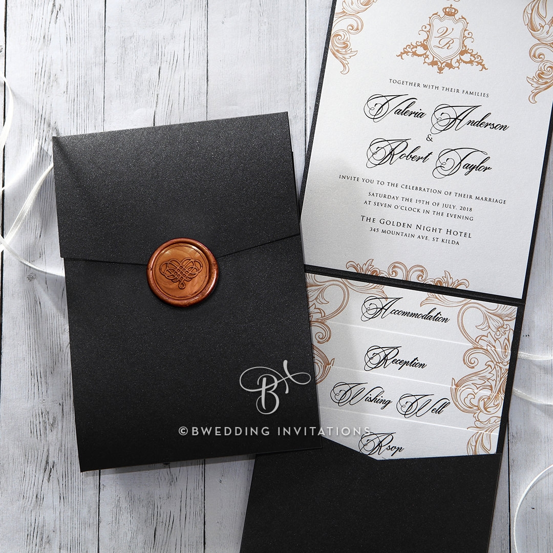 pocket wedding invitations trifold pearlized pocket invitation with seal 6699