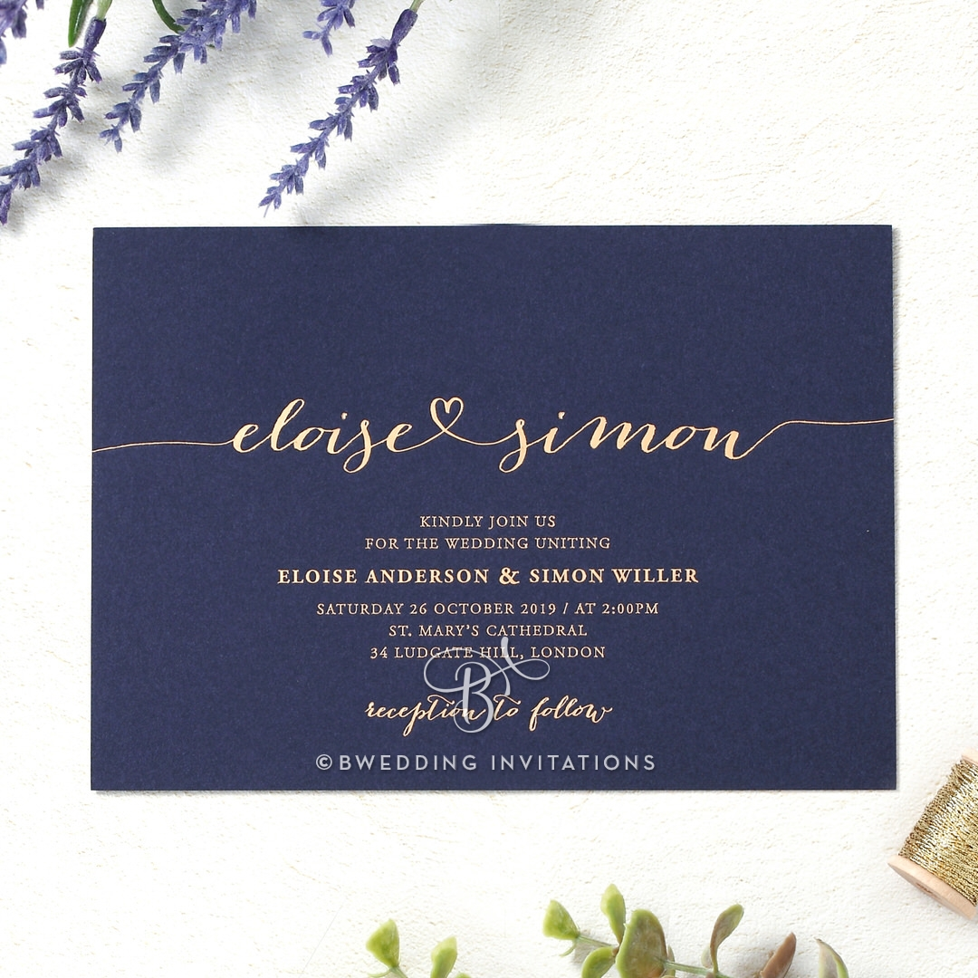 Casual elegance in navy and matt gold hot foil stamping infinity invitation monicamarmolfo Gallery