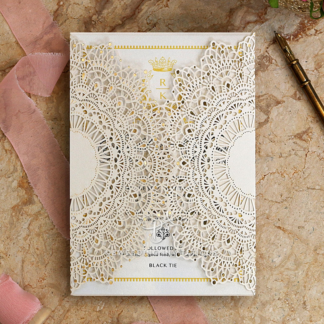 Doily in Love | Elegant Lasercut Gated Wedding Invitation