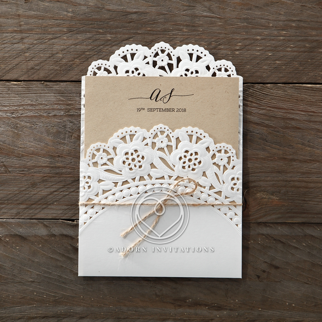 Laser Cut and Embossed Doily Pocket Invitation With Twine