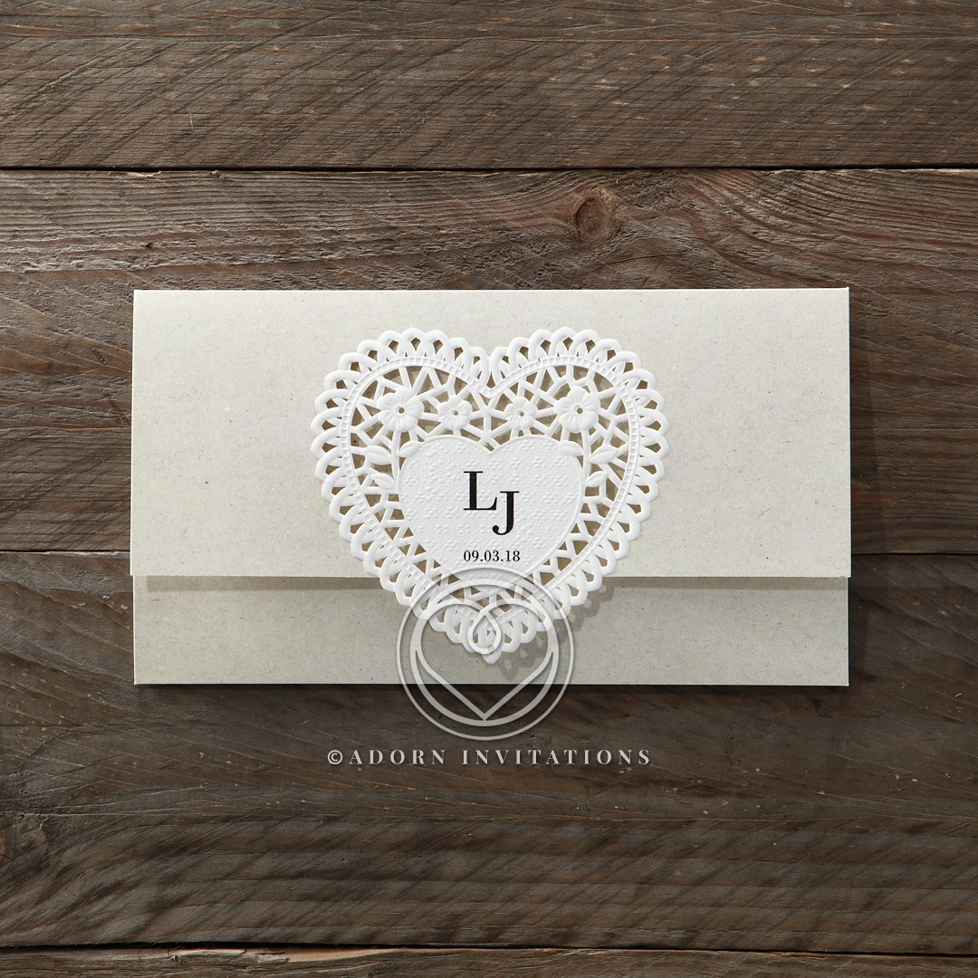 Romantic Heart Laser Cut and Embossed, Trifold Invite