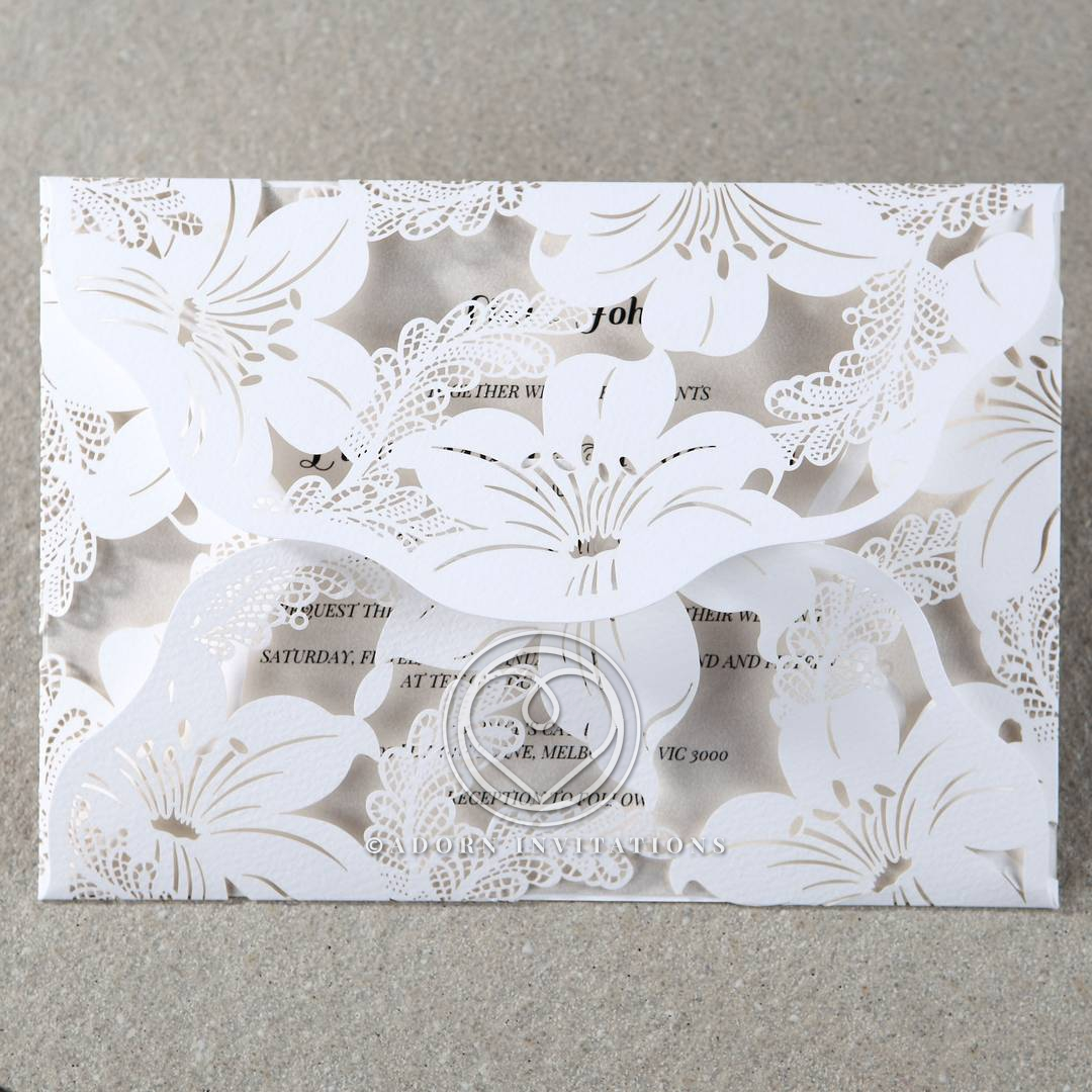 Lovely Lilies Laser Cut in White Cardstock, Four-Fold Invite