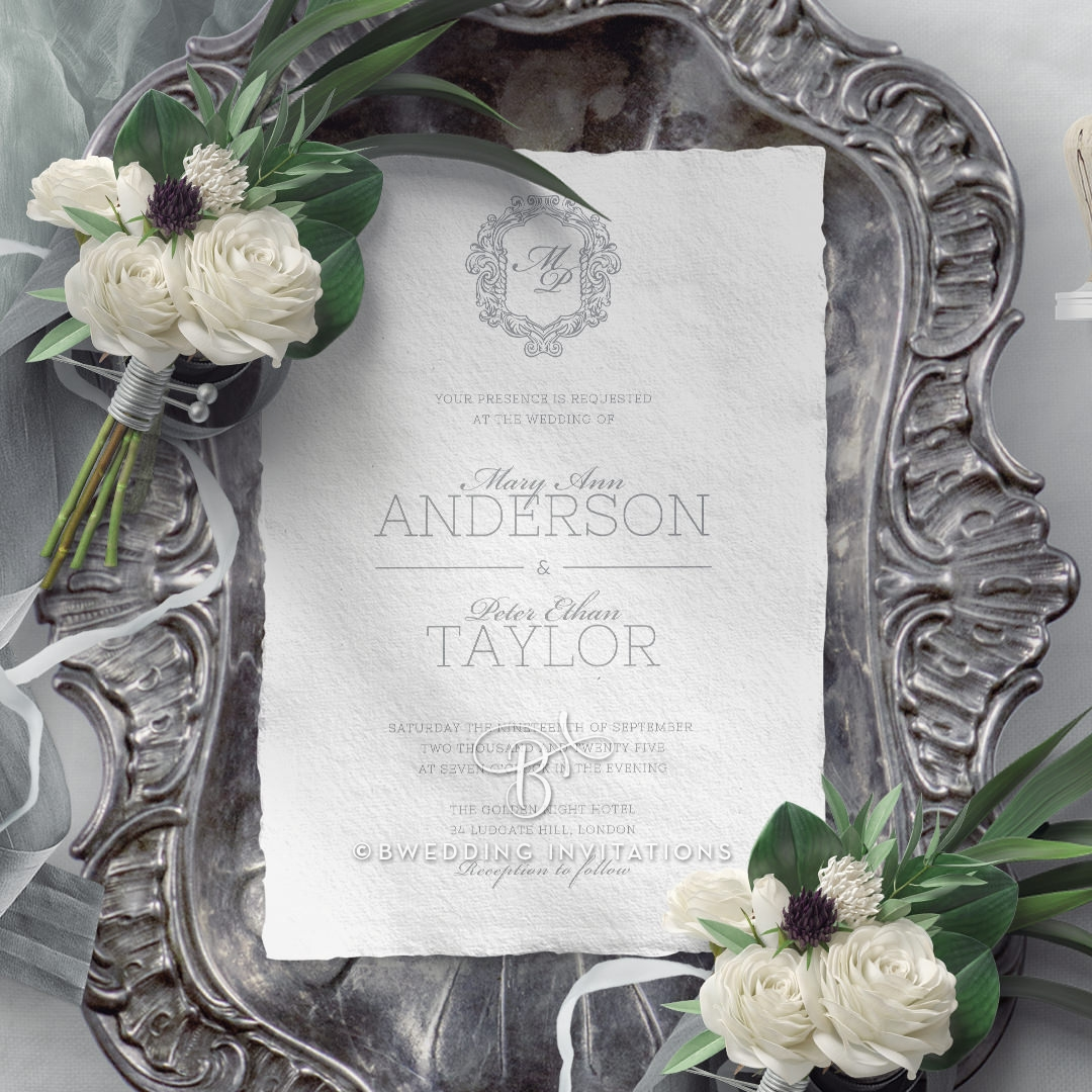 Modern Monogram Wedding Card