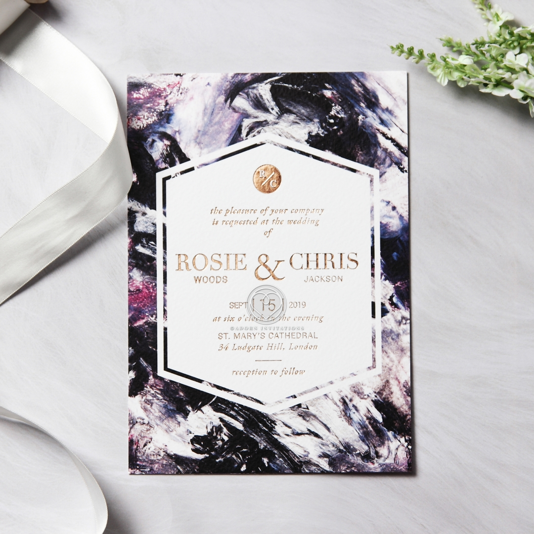 Mulberry Mosaic Framed Invitation with Rose Gold Stamping
