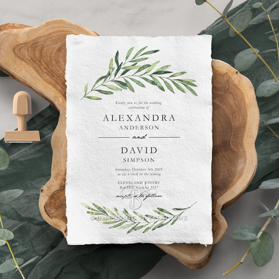 Olive Leaves Wedding Card