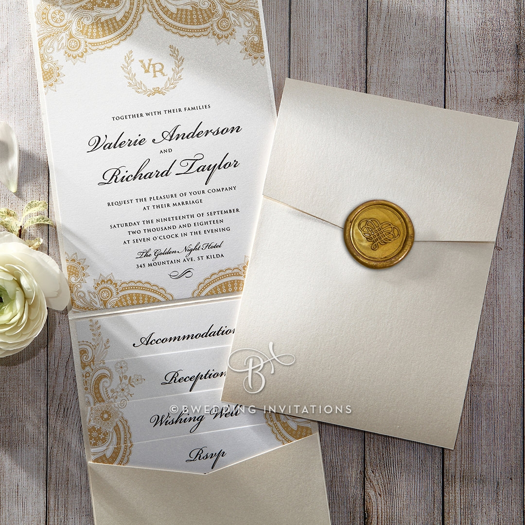 White Trifold Pocket invitation with a Gold Seal, Raised Ink