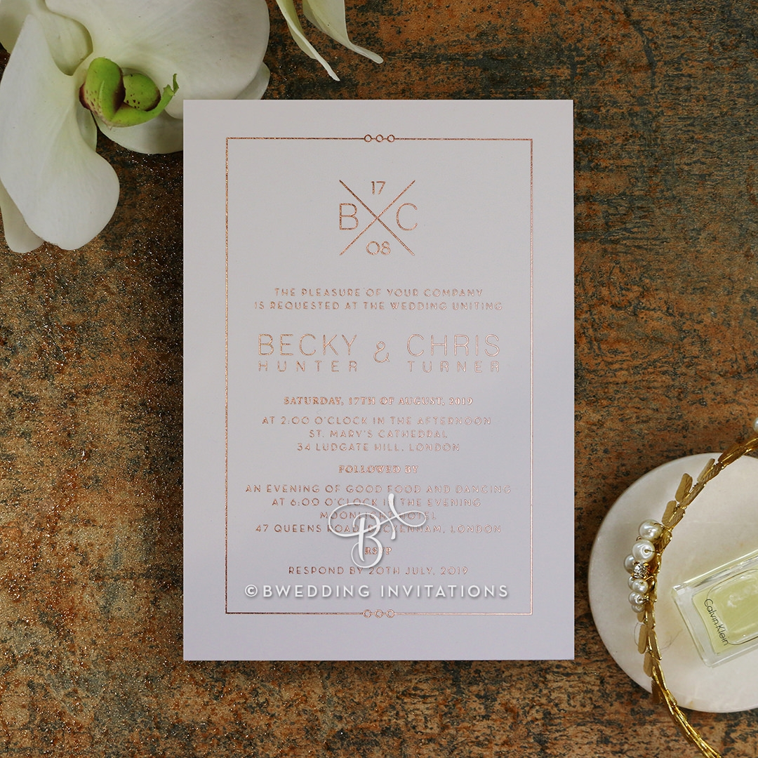 B Wedding Invitations Coupons: Diamond Quilt Pattern With Classic Style Monogram, Rose Gold