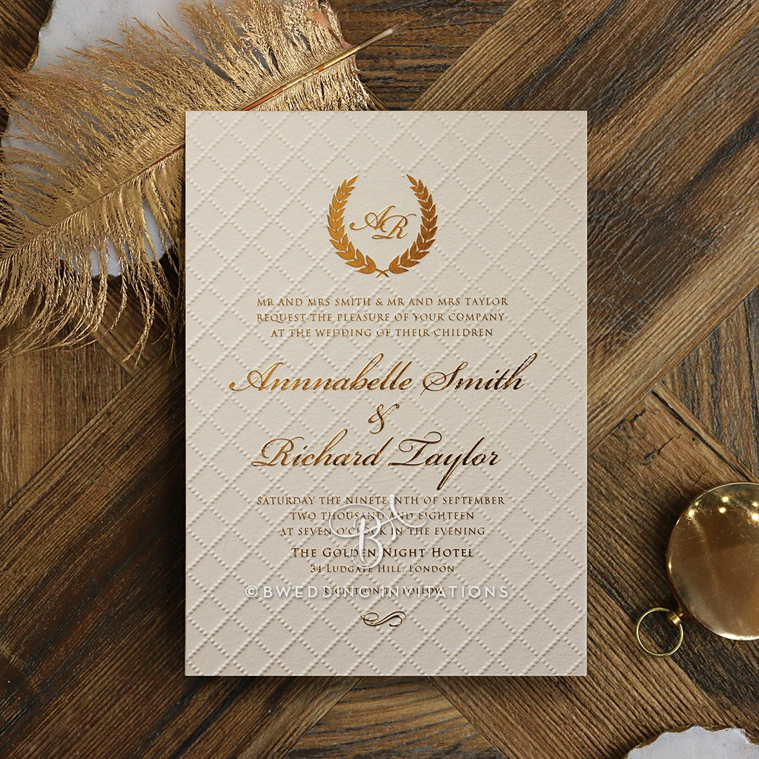 Quilted Letterpress Elegance Invitation