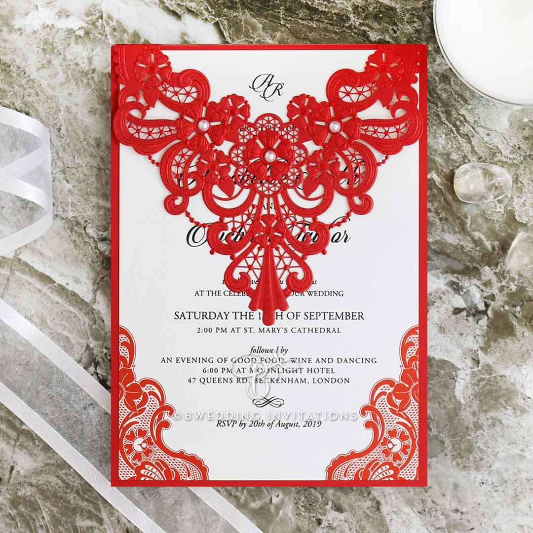 Bright and Bold Red Lace with Pearls | Modern Wedding Invitation