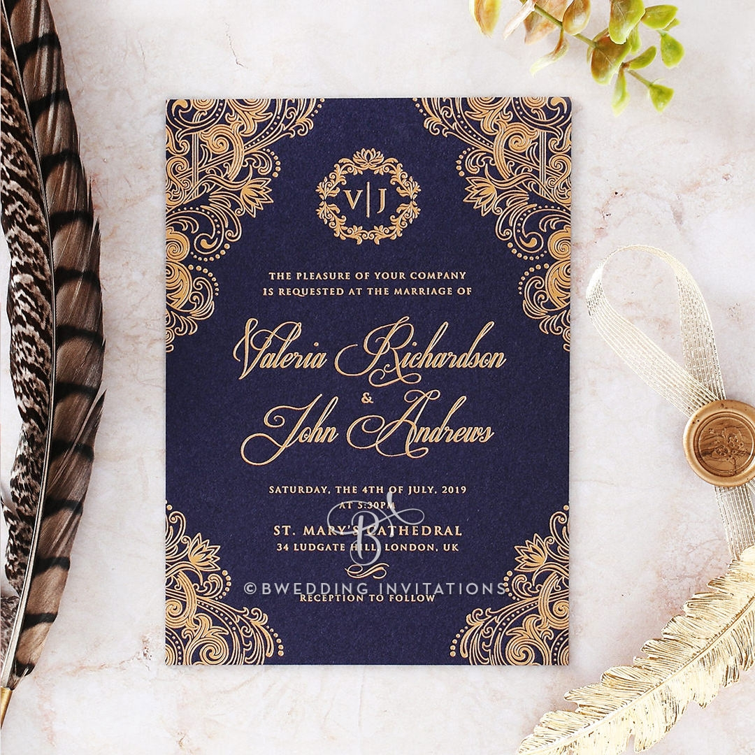 B Wedding Invitations Coupons: Royal Patterns In Foil On Navy With Matt Gold Premium Paper