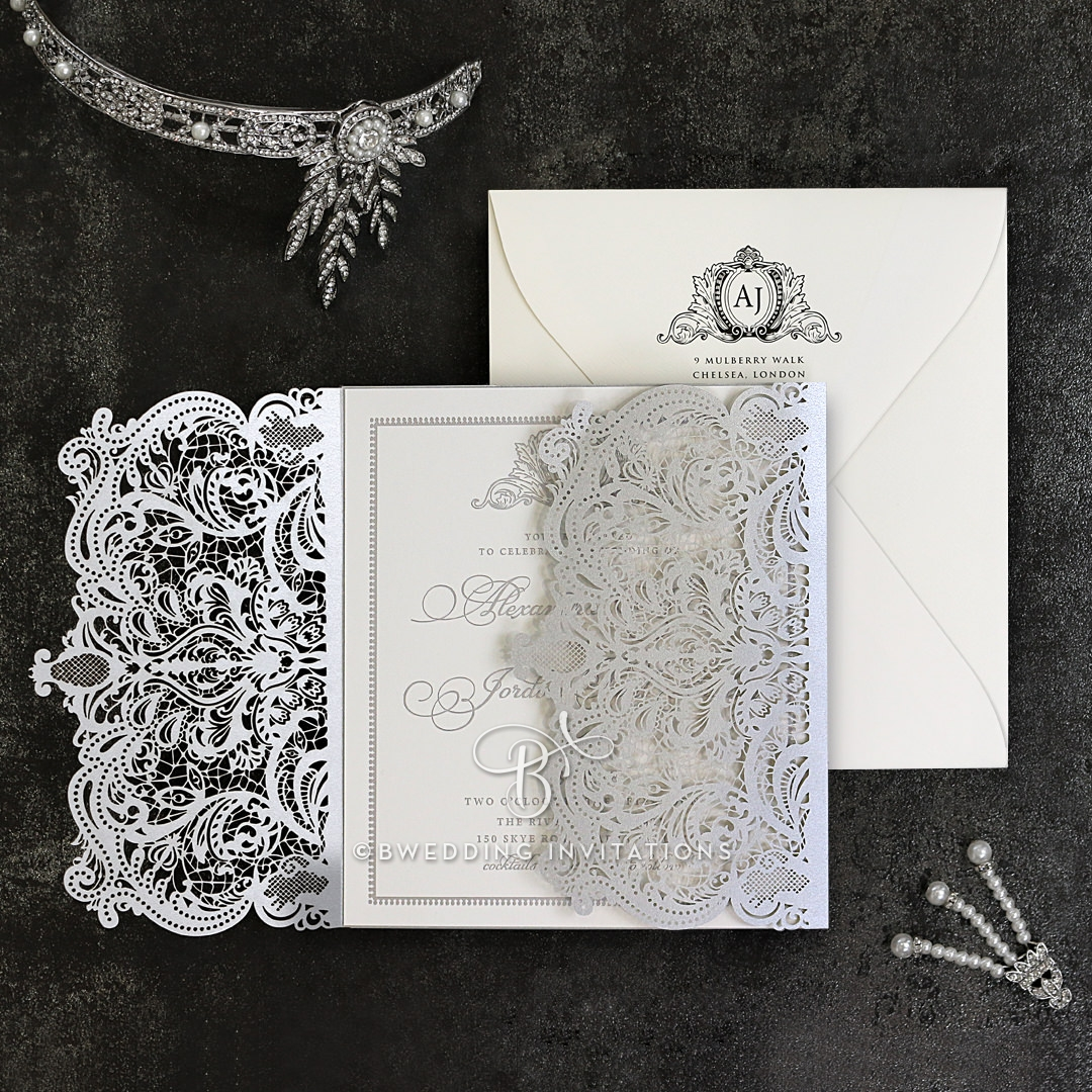 shimmering foiled gate fold wedding invitation