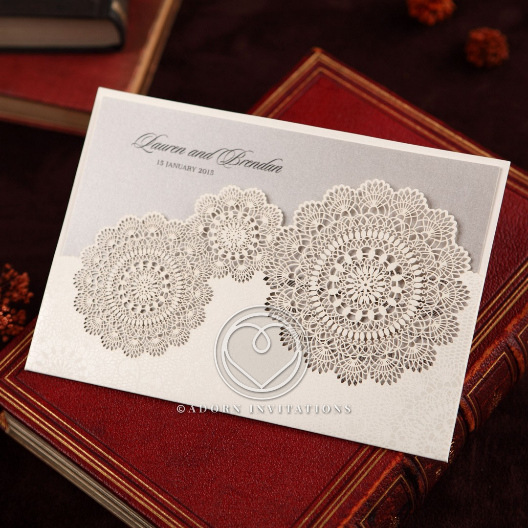Pocket Invitation with Doily Themed Laser Cut and Silk Foil