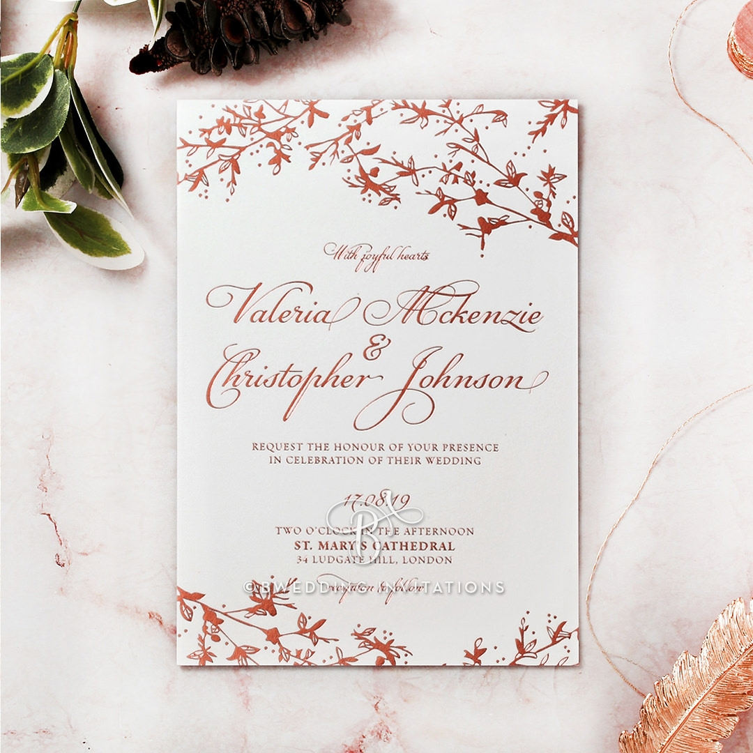 Garden Wedding Foliage Woodland Themed in Rose Gold