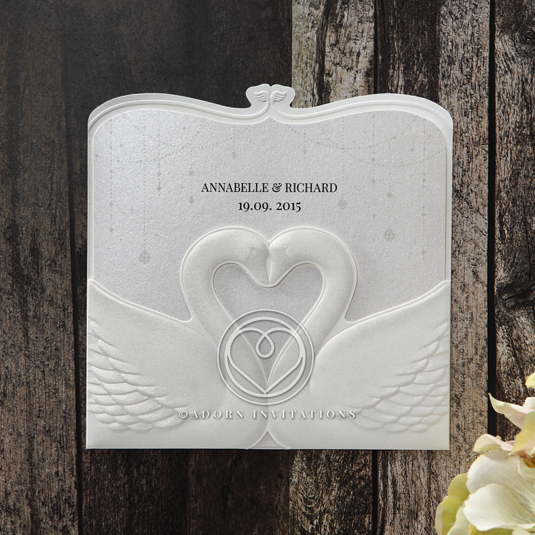 Embossed Swans Form a Graceful Pocket Invitation from B Wedding
