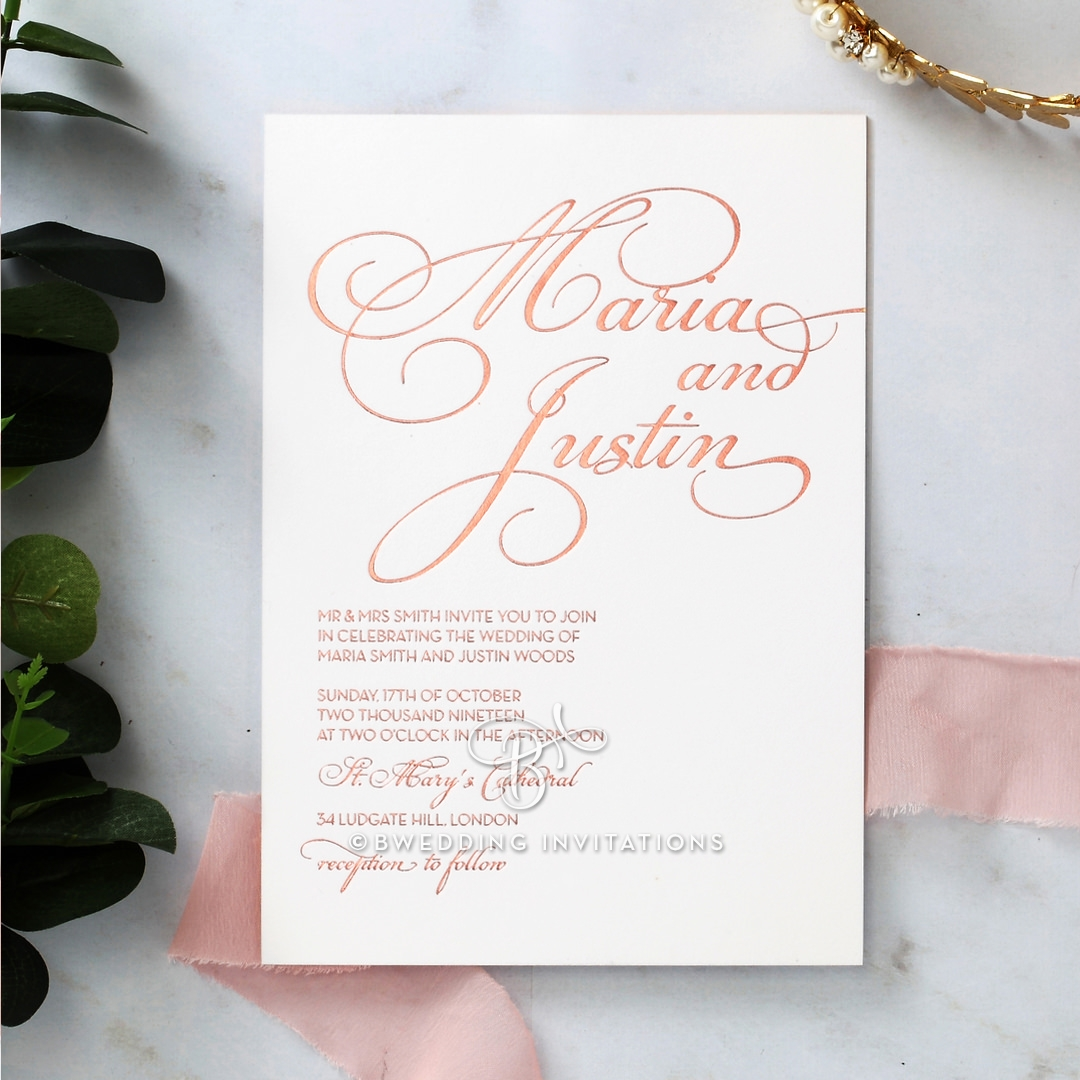 Script and Casual Design, Off-Center and Relaxed, Rose Gold