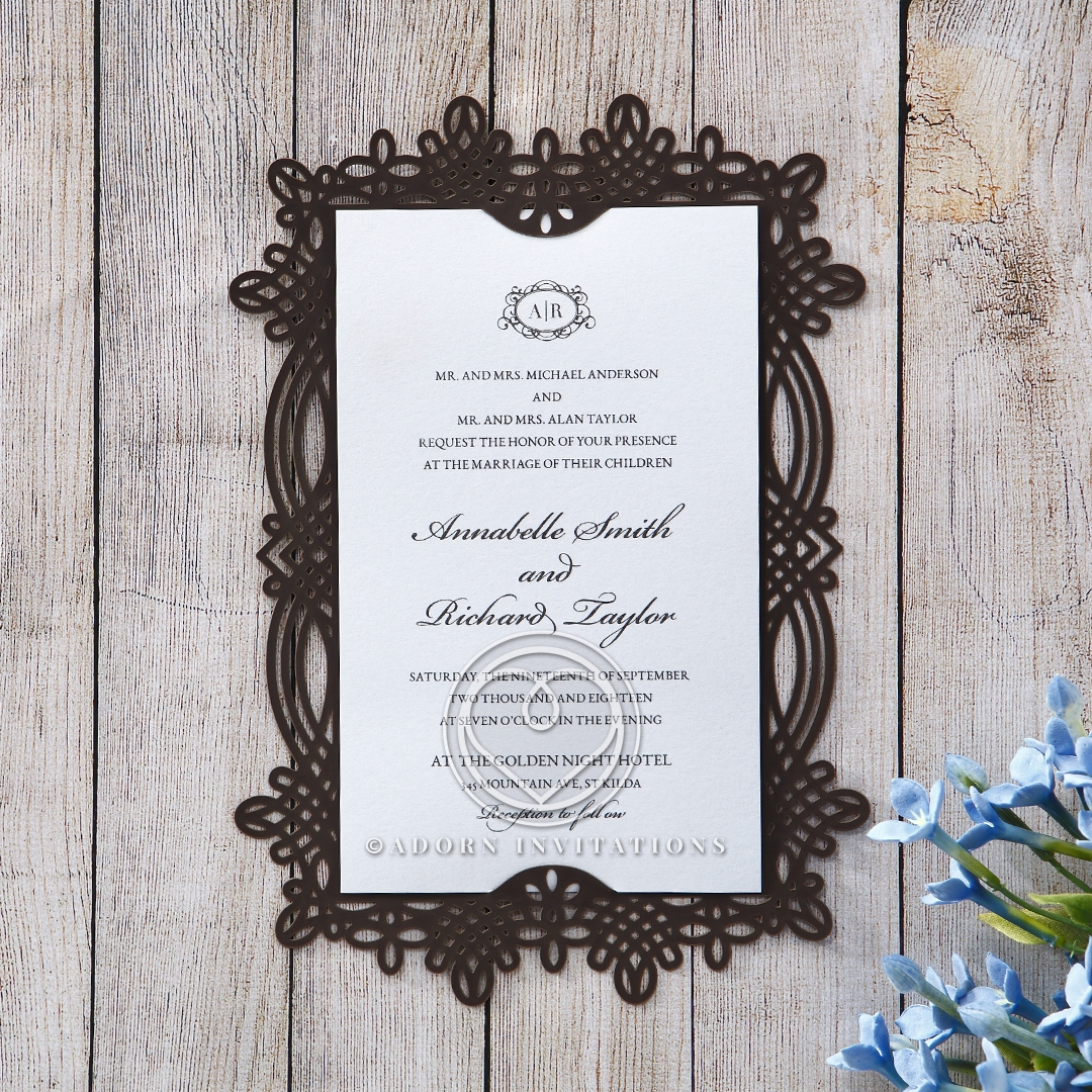 Dark Brown Victorian Framed Invitation, Lattice Laser Cut
