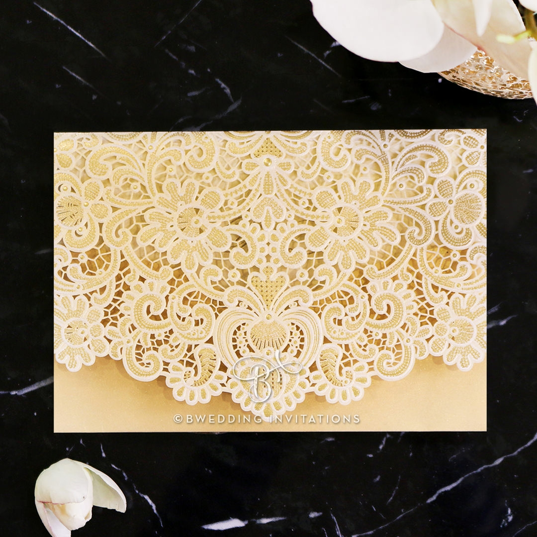 Creamy Floral Pocket Invitation Chic Laser Cut Creation
