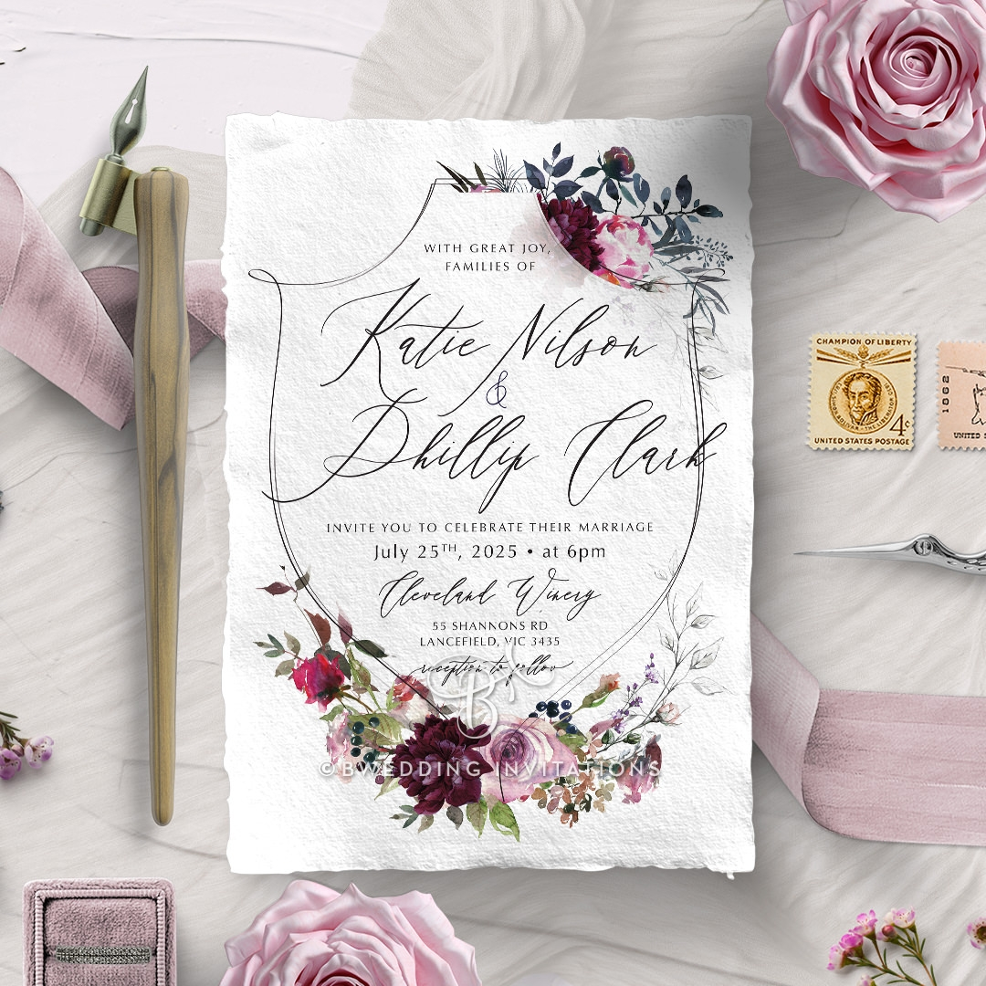 Watercolor Rose Garden Wedding Invitation Design