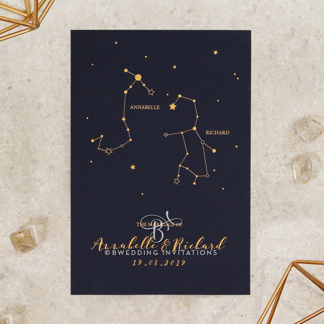 Written In The Stars - Navy Wedding Invite Card Design