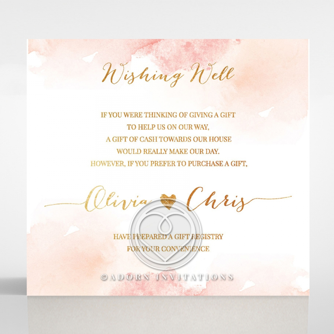 Chic Wishing Well and Gift Registry Card – Pretty Pink Watercolour