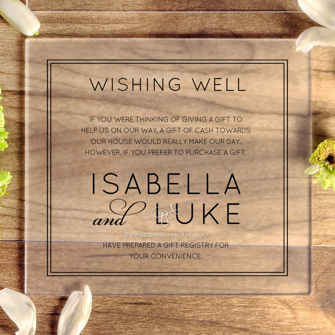 Luxe Acrylic Elegance gift registry stationery invite card