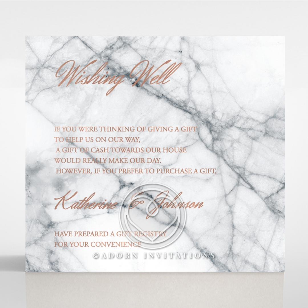 Wishing well card chic rose gold foil on marbled backing marble minimalist wedding stationery gift registry invitation card stopboris Choice Image