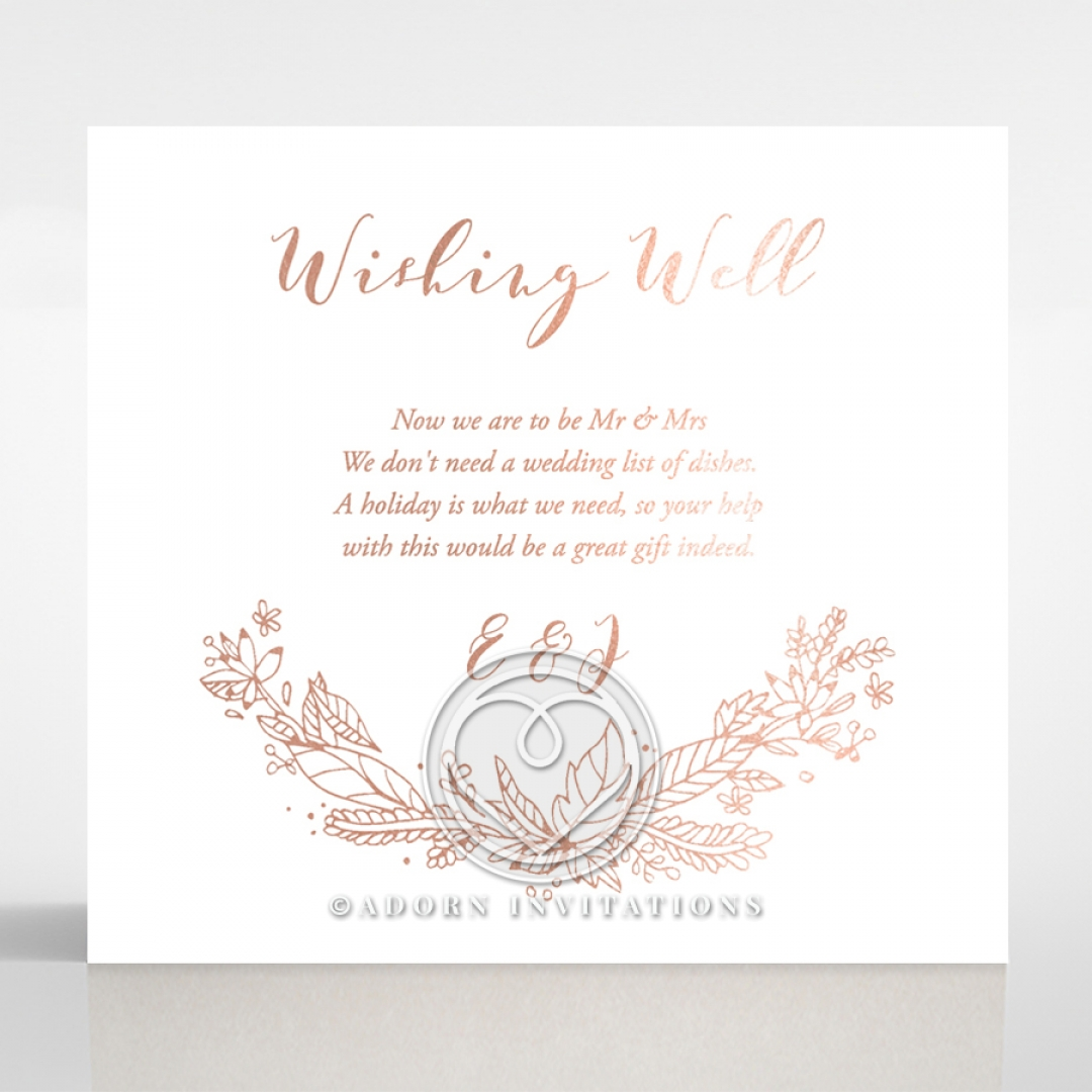 Whimsical Gift and Wishing Well Card | Chic Rose Gold Foil