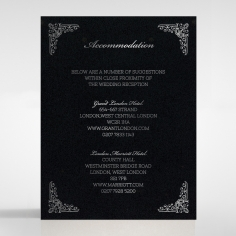Black on Black Victorian Luxe with foil wedding accommodation invite card design