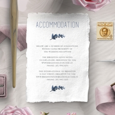 Blue Wonderland accommodation stationery invite card