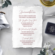 Bouquet of roses wedding stationery accommodation invitation card