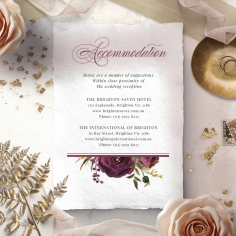 Burgandy Rose accommodation invite card design