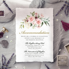 Geometric Bloom wedding accommodation card