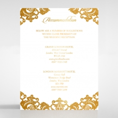 Golden Baroque Pocket with Foil wedding accommodation invitation