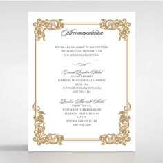 Golden Divine Damask wedding accommodation invite