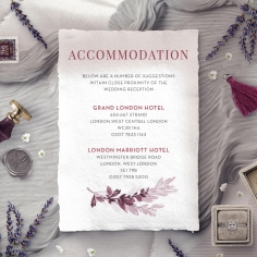 Magenta Wed accommodation enclosure stationery card