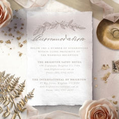 Simple Charm wedding stationery accommodation enclosure card design