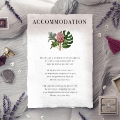 Tropical Island wedding accommodation card design