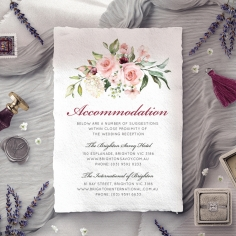 Vines of Love accommodation enclosure stationery invite card design
