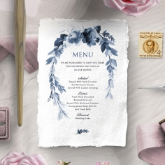 Blissful Union reception menu card