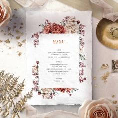 Blossoming Love menu card design