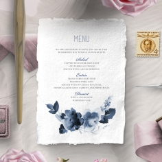 Blue Wonderland wedding stationery menu card item